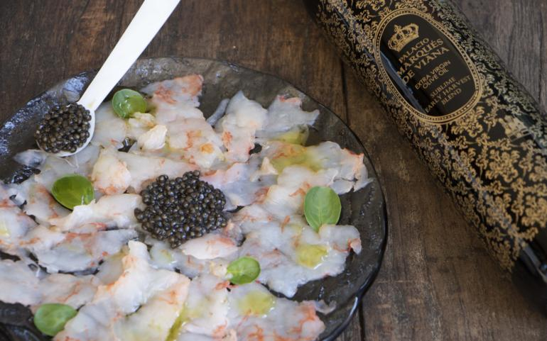 Carpaccio of shrimp, caviar & our EVOO Blend Sublime